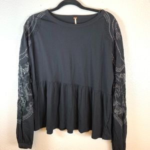 Long Sleeve Embroidered Free PeopleBlouse Small